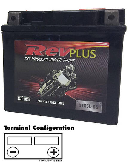 REVPLUS STX5L-BS YTX5LBS 12V 4Ah Maintenance Free Battery