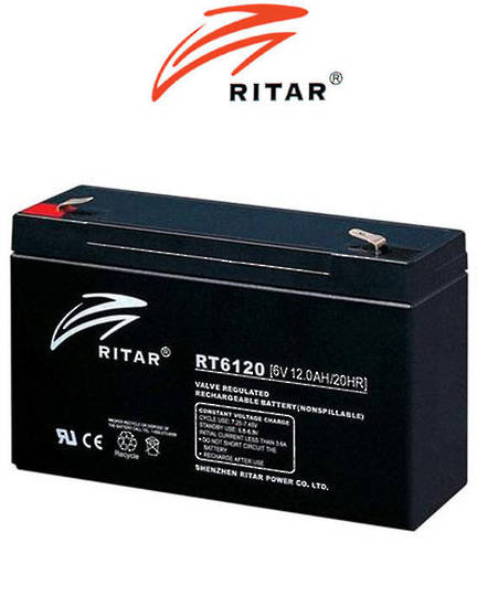 RITAR RT6120 6V 12AH SLA battery