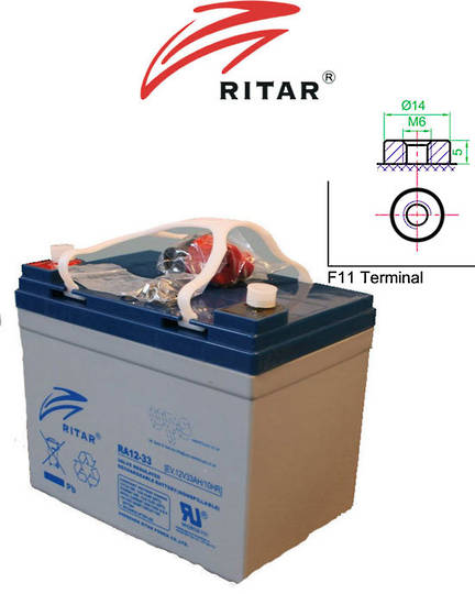 RITAR RA12-33EV 12V 33AH Deep Cycle SLA Battery