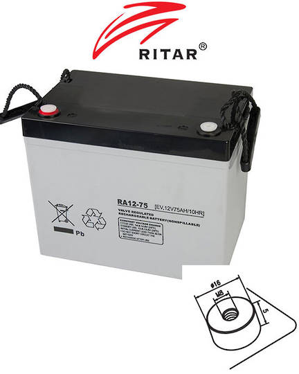 RITAR RA12-75EV 12V 75AH Deep Cycle SLA Battery