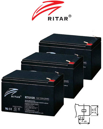 RITAR RT12120 12V 12AH SLA battery 3 Pack
