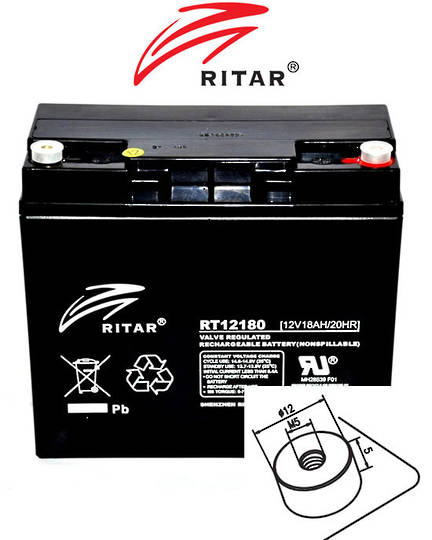 RITAR RT12180 12V 18AH SLA battery F13 Plug