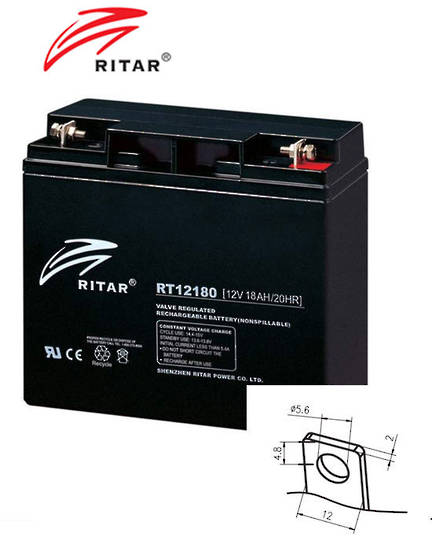 RITAR RT12180 12V 18AH SLA battery F3 Plug