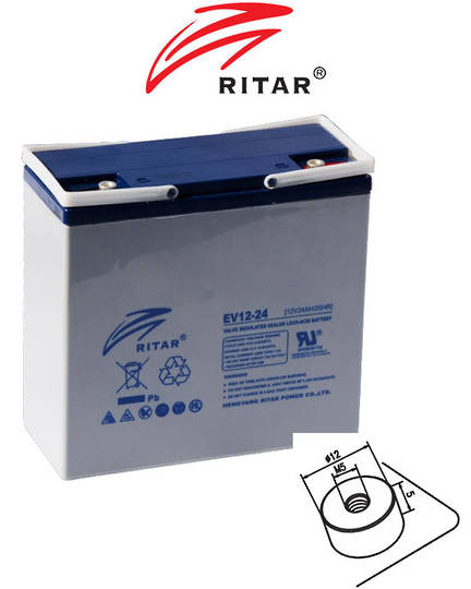 RITAR RT12240EV 12V 24AH Deep Cycle SLA Battery