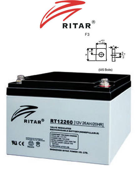 RITAR RT12260 12V 26AH SLA battery F3 Plug