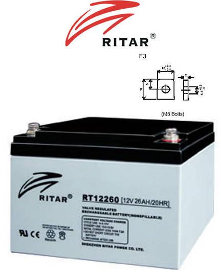 RITAR RT12260 12V 26AH SLA battery F3 Plug