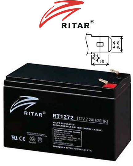 RITAR RT1272 12V 7.2AH SLA battery 4.33mm Terminal