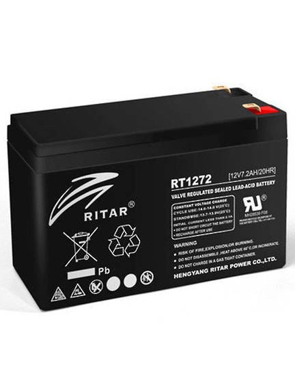 RITAR RT1272 12V 7.2AH SLA Battery 6.35mm Terminal