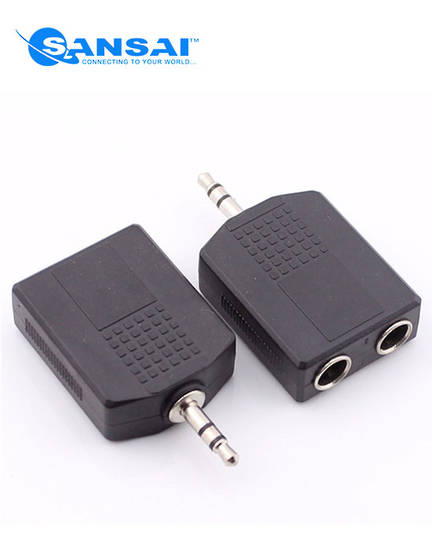 SANSAI 3.5mm Plug to 2 x 6.3mm Socket Stereo Adaptor