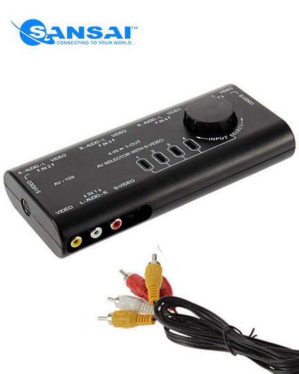 SANSAI 4 in 1 Out AV Signal Switcher