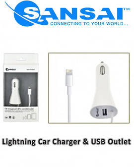 SANSAI Lightning Car Charger Adaptor with USB Socket
