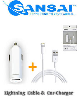 SANSAI Lightning to USB Cable with Car Adaptor for Apple Devices