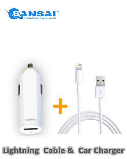 SANSAI Lightning to USB Cable with Car Adaptor
