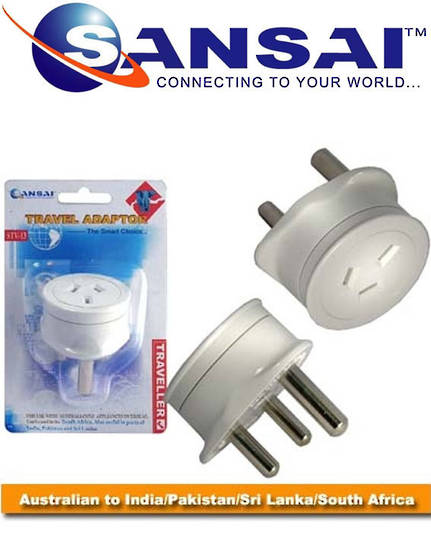 SANSAI Travel Adaptor for NZ to South Africa India Pakistan Sri Lanka