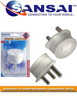 SANSAI Travel Adaptor for NZ/AUS to South Africa India Pakistan Sri Lanka