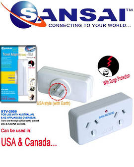 SANSAI Travel Double Adaptor for NZ/AUS to USA Canada
