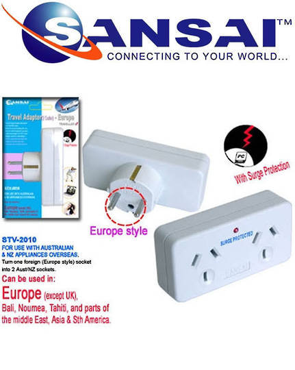 SANSAI Travel Double Adaptor for NZ to Europe Middle East Asia