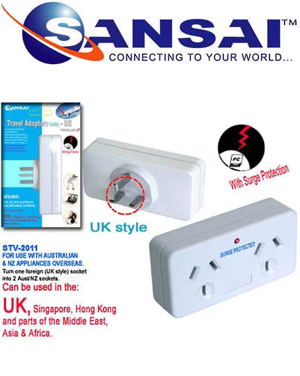 SANSAI Travel Double Adaptor for NZ to UK Singapore Malaysia HK
