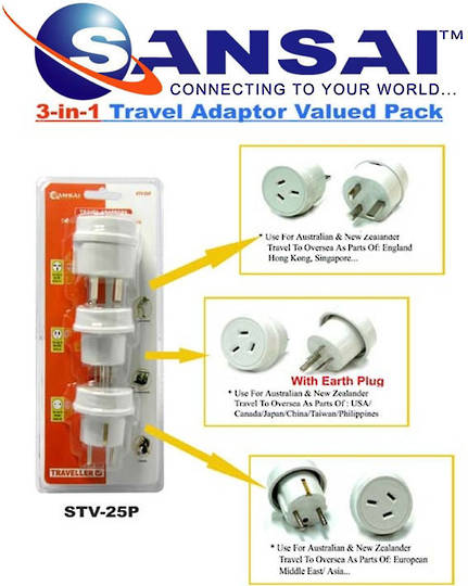 SANSAI Travel Adaptor Pack Valued Pack Set