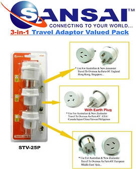 SANSAI Travel Adaptor Pack