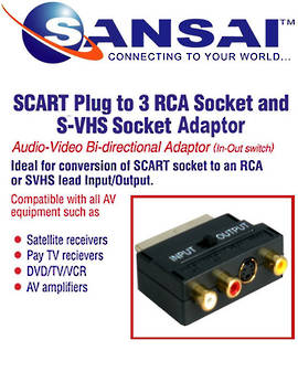 SANSAI Scart 21Pin Plug To 3RCA Socket + SVHS