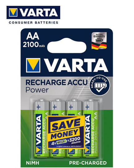 VARTA AA 2100mAh Pre-Charged NiMH Rechargeable Battery