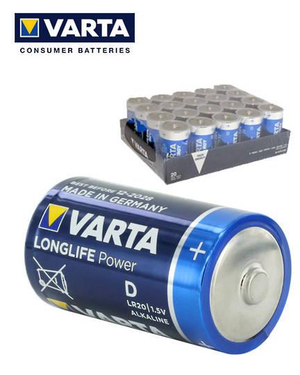 VARTA D Size Alkaline Battery 20 Tray