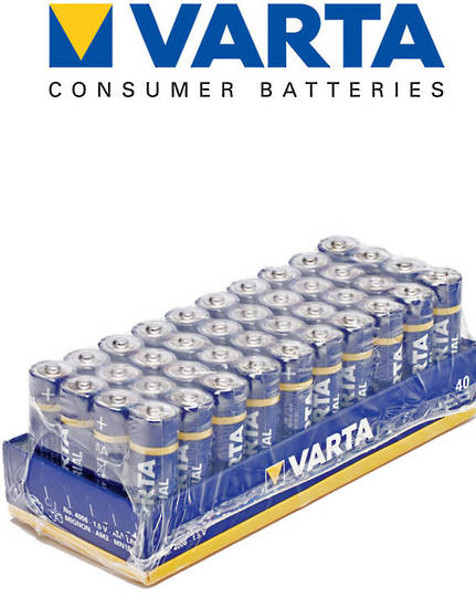 VARTA AA Alkaline Battery, Pack of 40
