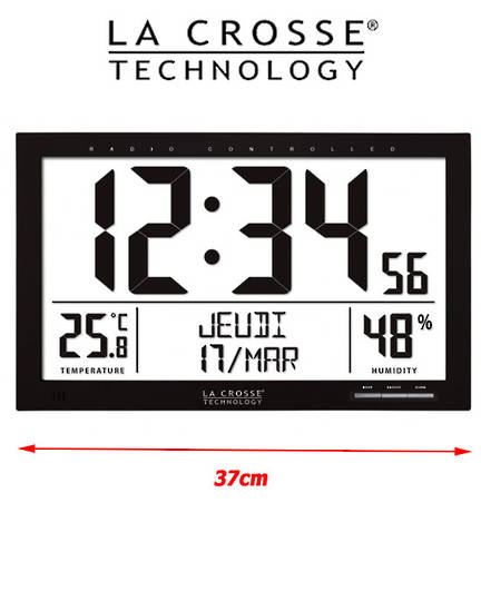 WS8013 La Crosse Large Wall Clock with Indoor Temperature Humidity