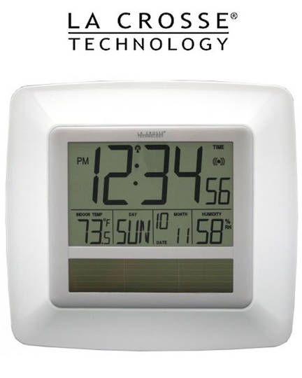 WT8112U Solar Digital Wall Clock Indoor Temp Humidity