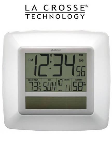WT8112U Solar Digital Wall Clock Indoor Temp Humidity