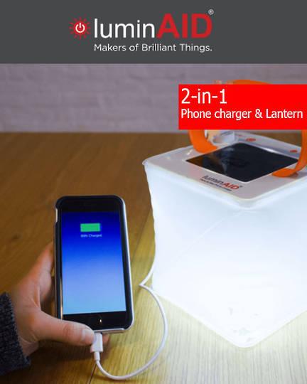 luminAID PackLite Max USB Phone Charger Solar Inflatable Lantern