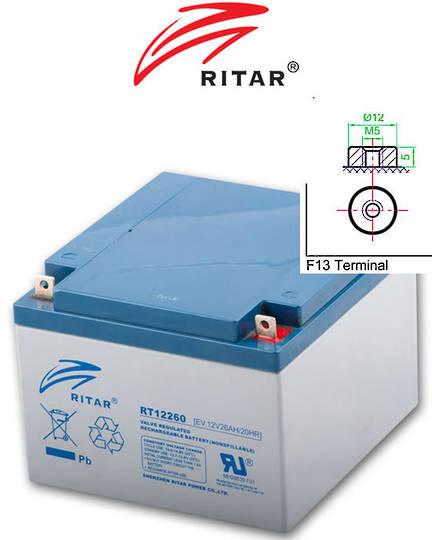 RITAR RT12260EV 12V 26AH Deep Cycle SLA Battery