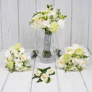 SEASONAL WHITE/GREEN WEDDING FLOWER PACKAGE
