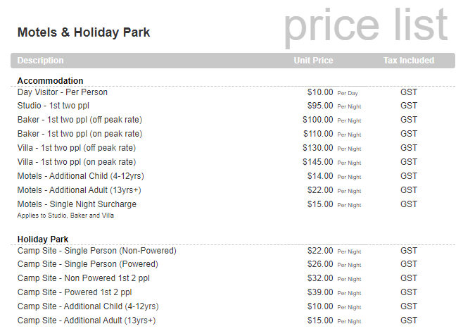 2020 Motels and Holiday Price List
