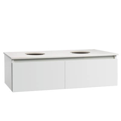 Valencia Elite Wall Hung Vanity 1200mm Twin Drawer Stone Top Double Bowl