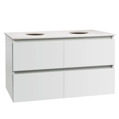 Valencia Elite Wall Hung Vanity 1200mm Stone Top Double Bowl