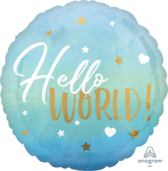 Hello World Baby Balloon (BLUE), with helium (Multiple colours/designs available)