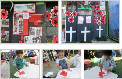 Montage of ANZAC activities at preschool