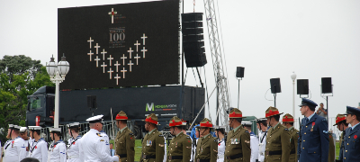Soldiers in front of the big screen