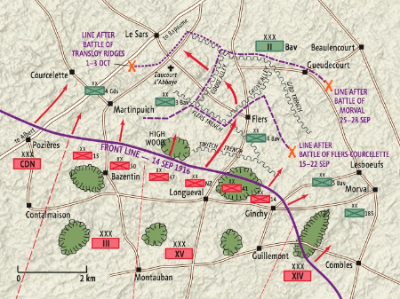 Map of the Battle of The Somme