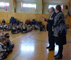 Graham Gibson addresses the assembled children