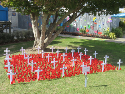 White crosses and red poppies