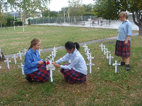 Students placing the crosses in a Field