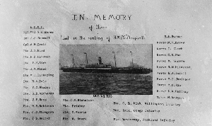 Image of the hospital ship Marquette with list of members of the New Zealand Medical Corps, and New Zealand nurses lost in the sinking on 23 October 1915. Price, William Archer, 1866-1948 :Collection of post card negatives. Ref: 1/2-000610-G. Alexander Turnbull Library, Wellington, New Zealand. http://natlib.govt.nz/records/22606846