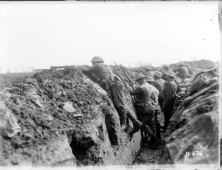 New Zealand soldiers in a trench in France