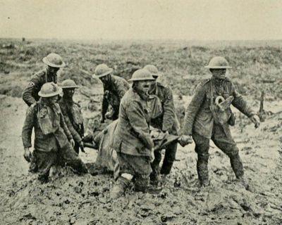 Passchendaele stretcher bearers in the mud