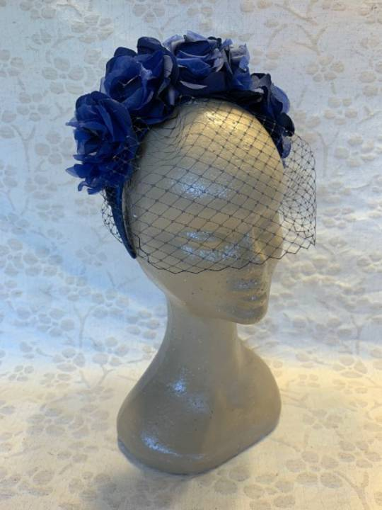 Deep Blue Silk Roses with Net $265