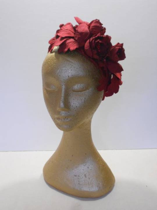 Red Silk flower headband $235