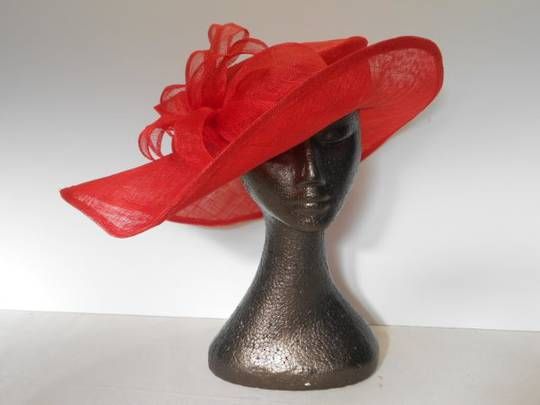 Red sinamay picture hat $245